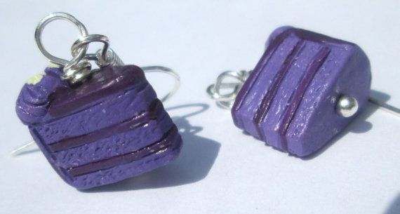 Cake Earrings purple decorated layer cake from Peru pierced