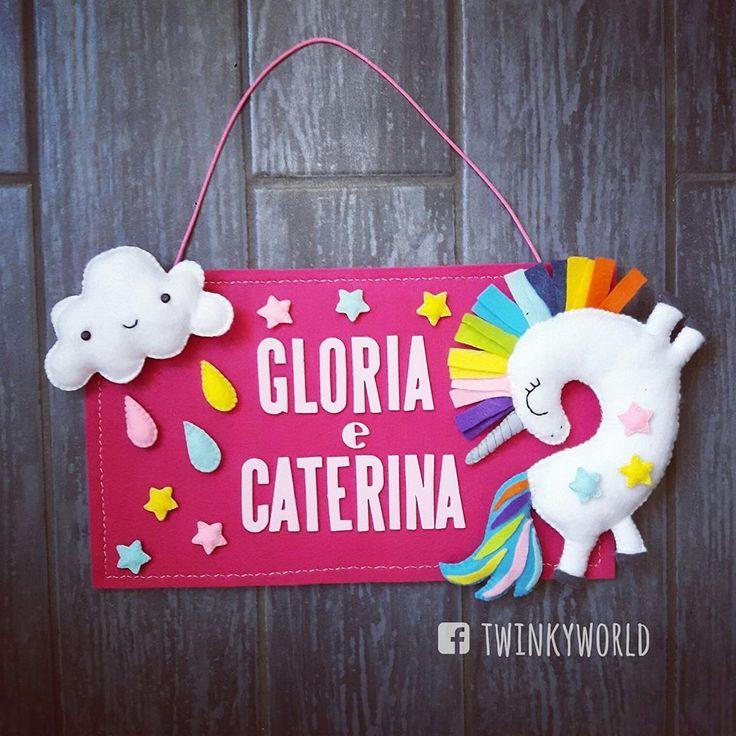 Felt sign - Door  - Gloria's Room - Caterina's Room - Unicorn - Cloud - Rainbow - Felt