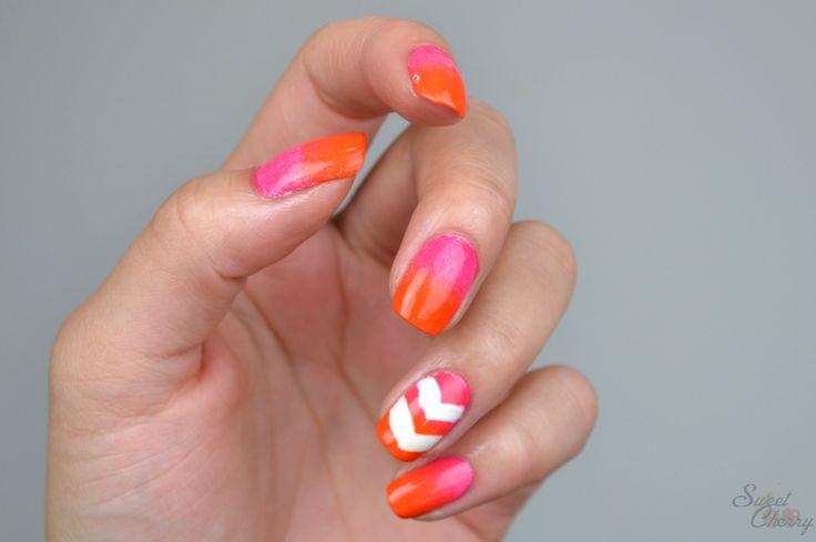 Farbenfrohes Nageldesign mit essence Nagellacke. Orange und pinkes Gradient Nail Art.