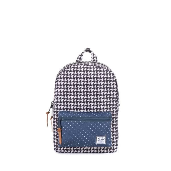 """Herschel Supply Settlement Backpack   Kids - The Settlement Kids backpack is designed after Herschel Supply's popular Settlement silhouette which has been sized specifically for youth. This durable backpack comes with plastic zippers and an internal media pocket.  Fully lined with our signature coated cotton-poly fabric Exposed plastic zippers Leather zipper pulls Single front pocket with key clip   Houndstooth/Navy Polka Dot / 13.25""""(H) x 9.5""""(W) x 3.75""""(D), 9.5L"""