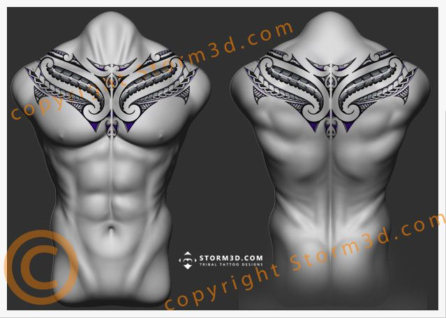 de colarinho upperback-maori-tattoo-chestplate-design by-Storm3d