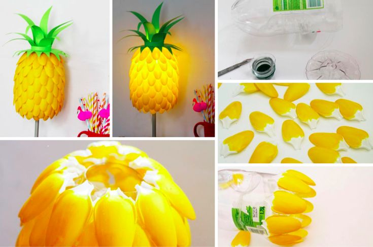 un ananas coloré en guise de lampe ! Ce projet facile à réaliser va apporter un détail unique à votre pièce et vous donneras des envies de fruits et de soleil. Ce qu'il faut : Une lampe de petite taille Une bouteille assez large Des cuillères en plastique...