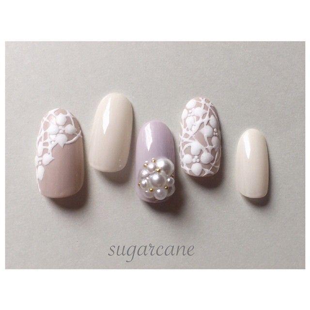 「flower lace nail❤︎ #sugercane #nail #nails #gelnail #gel #naildesign #design #nailart #art #rose #ネイル #ネイルデザイン #ネイルチップ #ジェルネイル #ネイルアート #デザイン #アート #春ネイル…」