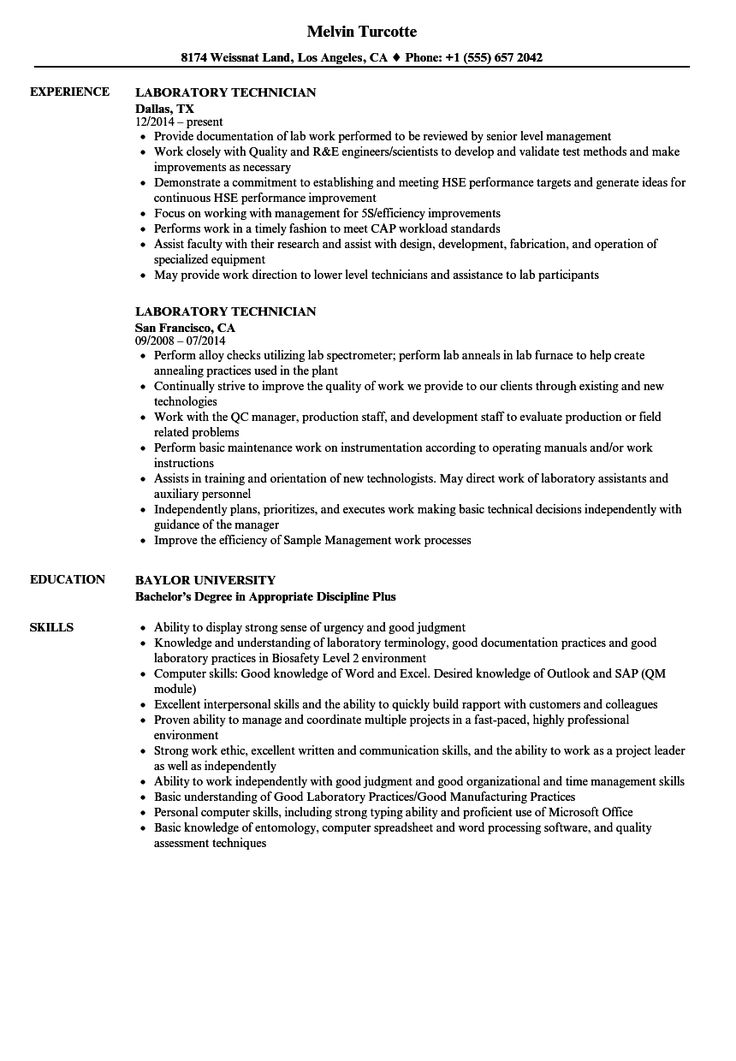 Chemistry Lab Technician Resume Beautiful 20 Medical