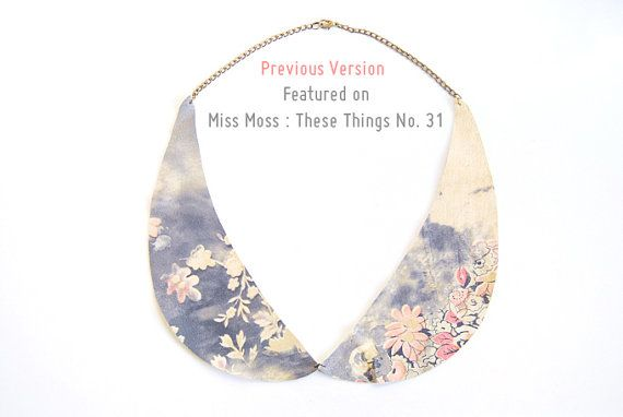 Floral Leather Peter Pan Collar Necklace  Only One by AmprisLoves, $32.00