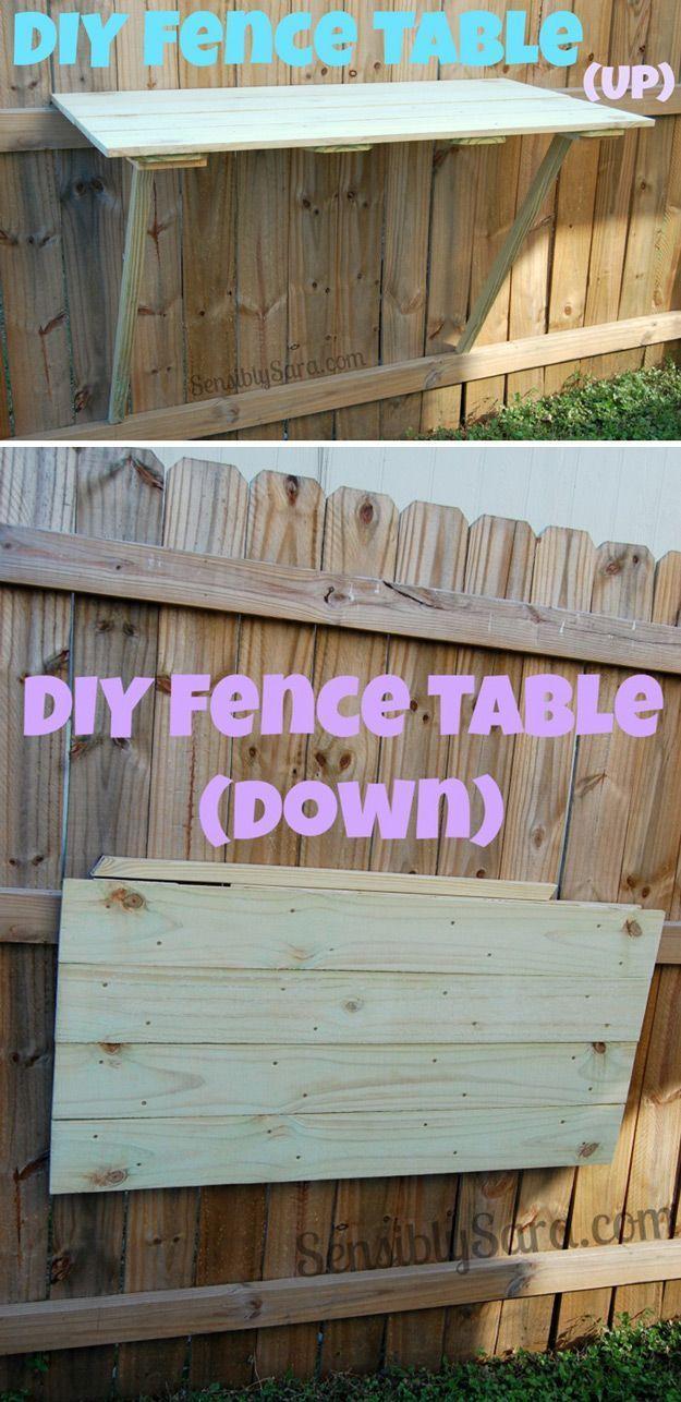 DIY Fence Table | Easy Table Backyard Ideas by DIY Ready at http://diyready.com/easy-backyard-projects/