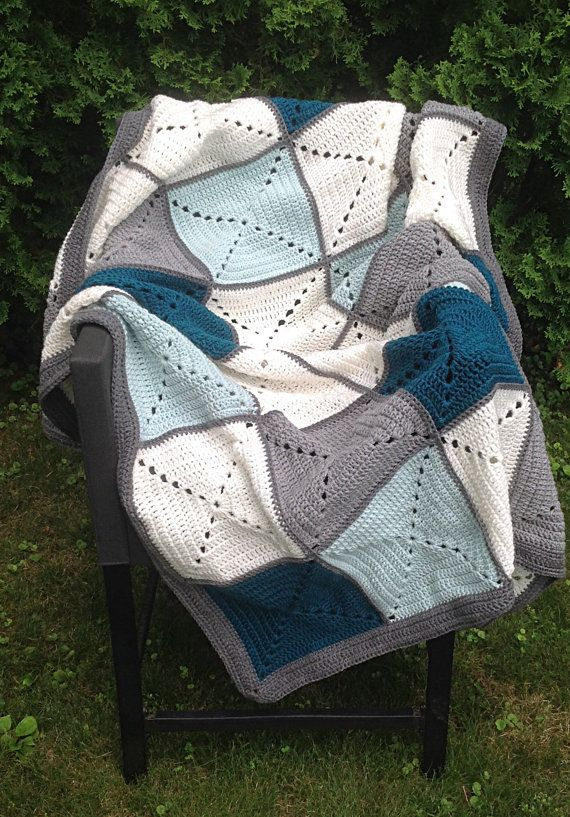 Grey and Teal Basic Granny Square Patchwork by DapperCatDesigns