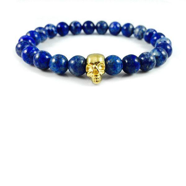 Męska bransoletka lapis lazuli ze złotą czaszką w Dizarro na DaWanda.com
