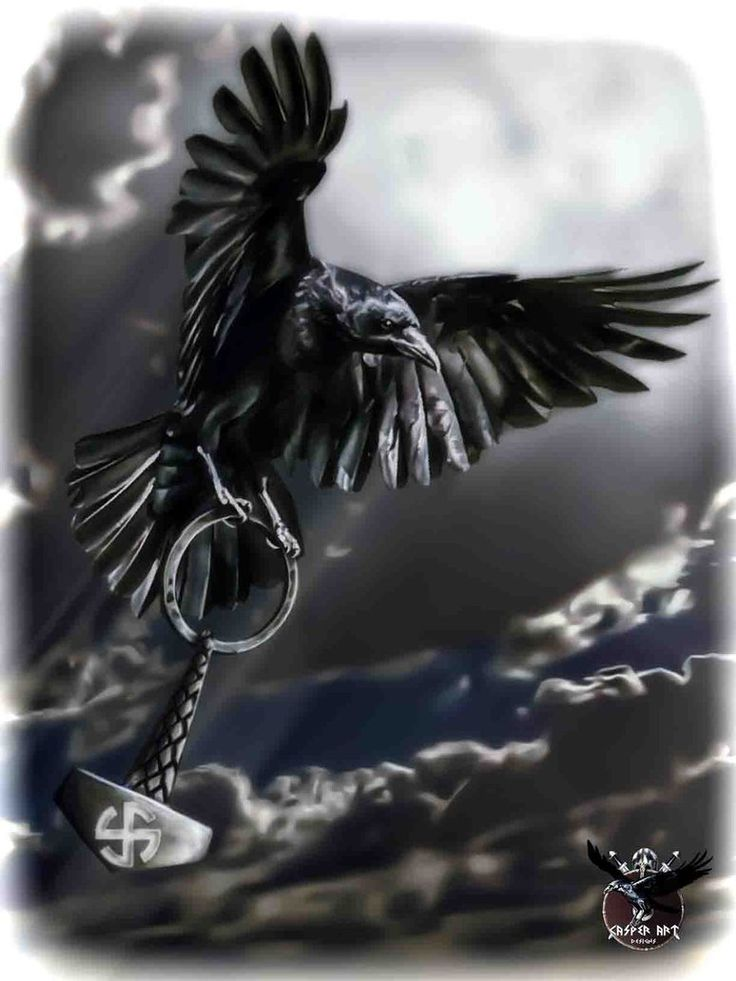 Raven And Mjolnir by thecasperart on DeviantArt