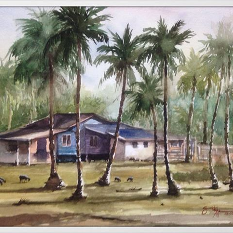Title : A 'Kampung House' at Pantai Sepat, Kuantan Medium : Watercolor on paper. (Saunders Waterford 300g/m2) Size : 41 x 31cm #painting #watercolor #watercolour #waterblog #watercolour_gallery #stcuthbertsmill #kampunghouse #pantaisepat #kuantan #artoftheday #dailyart #artdaily #arthelp #art_spotlight #artwork #artgallery #artistsoninstagram #watercolourartist #watercolorist #WNspringgiveaway