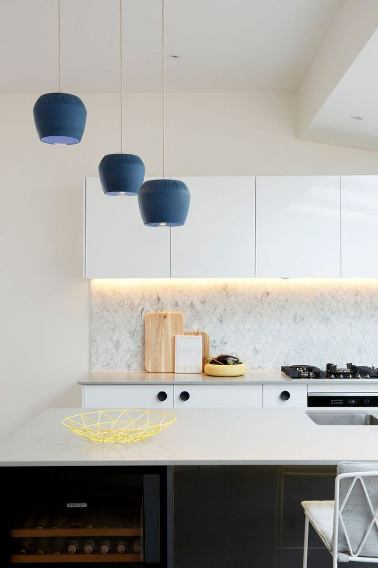 Reno Rumble Kitchens - Blue Pendant Lights in Kitchen
