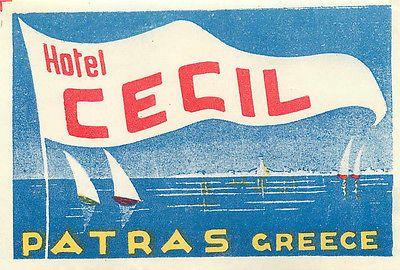 Hotel Cecil ~PATRAS GREECE~ Beautiful Old Luggage Label