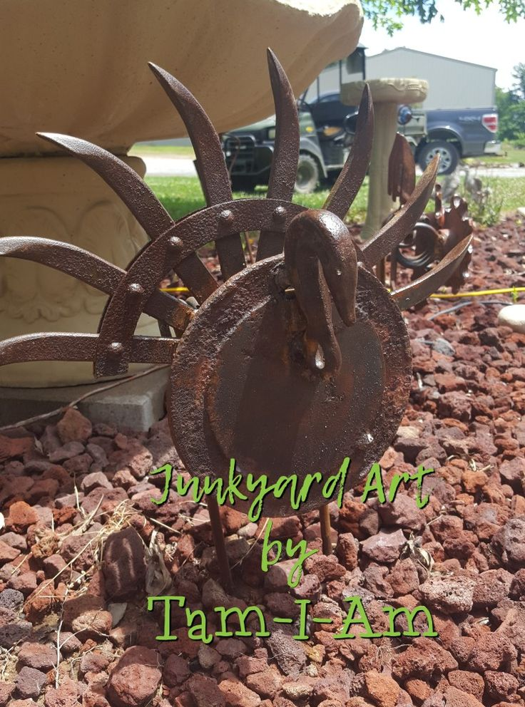 Scrap metal yard art - turkey made from rotary hoe disk and other pieces of scrap metal
