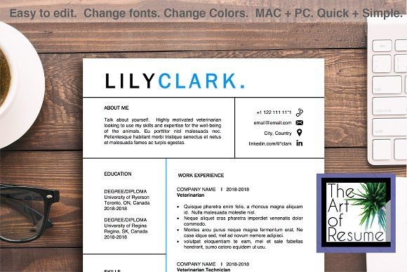 Veterinarian Resume Template CV Word by The Art of Resume on