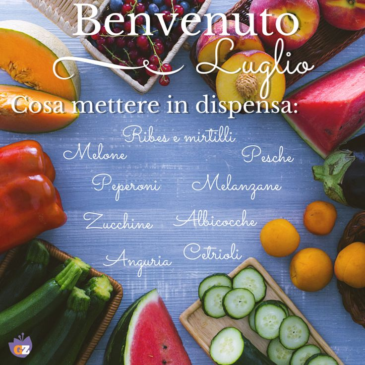 Luglio è arrivato. Ecco cosa non può assolutamente mancare nella tua dispensa! #luglio #july #summer #season #fruit #vegetables #watermelon #peach #melon #blueberry #apricot #zucchini #cucumber #food #market #Giallozafferano