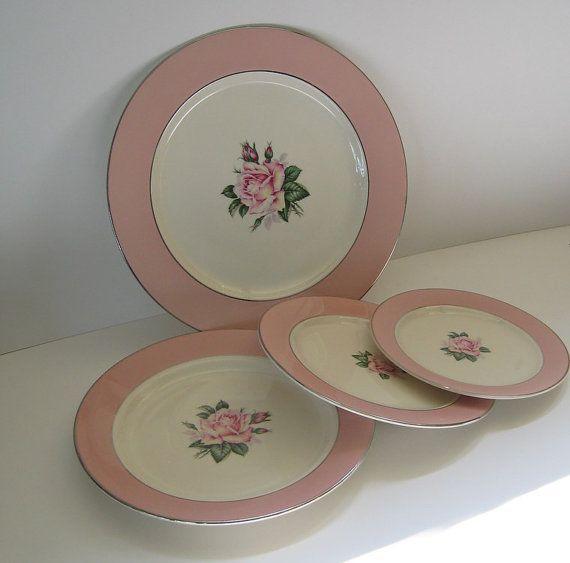 Vintage Plates Pink Rose Lifetime China Homer Laughlin