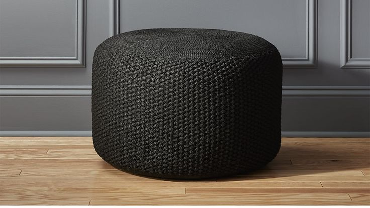 criss knit black pouf   CB2   I own 4 of these. Maybe use 2 in the office?