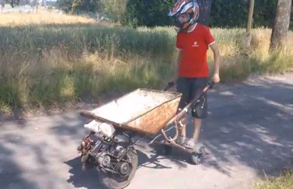 Polish teen makes internal combustion engine-powered wheelbarrow his personal ride