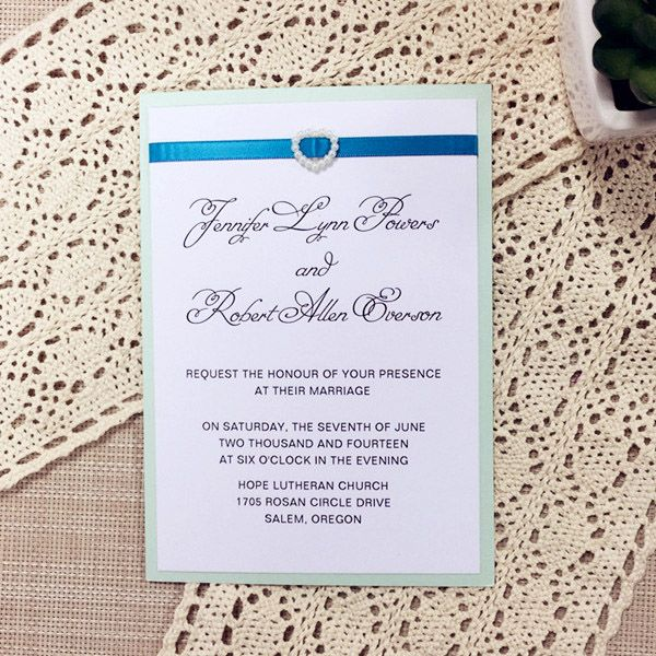 spring green pearl buckle layered wedding invitations ewli005 - Layered Wedding Invitations