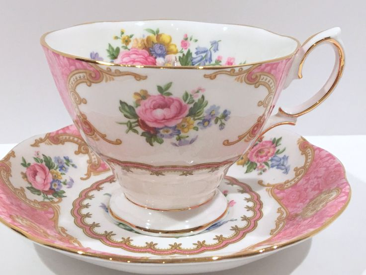 Lady Carlyle Royal Albert Tea Cup and Saucer, Antique Tea Cups, English Bone China, Bridal Gift, English Teacups, Pink Tea Cups, Vintage Cup by AprilsLuxuries on Etsy