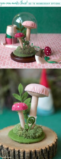Make Your Own Tiny Woodland Terrarium - www.LiaGriffith.com - #feltcrafts #DIYFelt #FeltMushroom #FeltTerrarium #FairyGarden #MiniTerrarium #FeltDIY #DIYFelt