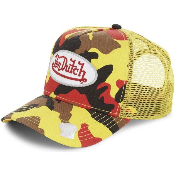 VON DUTCH Logo camouflage trucker cap ($44) ❤ liked on Polyvore featuring accessories, hats, truck caps, baseball cap hats, baseball caps, camo trucker hat and camo hat