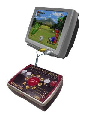 Golden Tee Golf Gold by Radica Games. $64.99. Golden Tee - Official License. Realistic golden tee arcade style trackball interface. Stroke or tournament mode. Free ambassador card. 1-4 players. From the Manufacturer                Now Golden Tee Golf fans can play one of their favorite arcade-style games right at home!  Officially licensed by Incredible Technologies, the makers of Golden Tee, Play TV Golden Tee Golf features a glowing blue trackball interface that ...