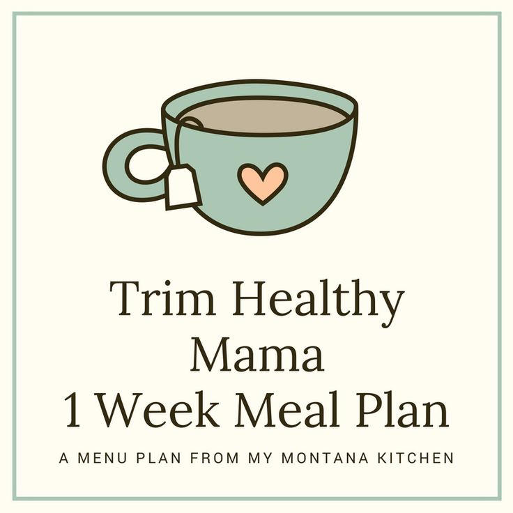 1 Week Trim Healthy Mama Menu Plan