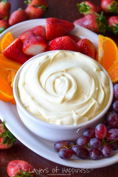 The Best Fruit Dip Ever Vanilla yogurt, dry vanilla pudding mix, and cool whip.