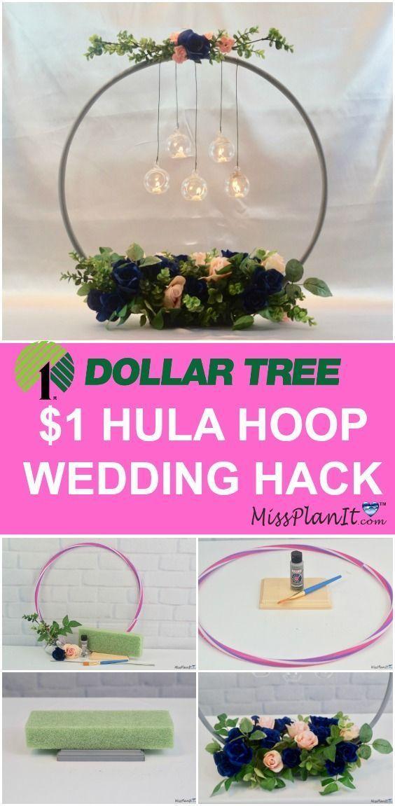 $ 1 Hula Hoop Wedding Hack: Wie man ein Kronleuchter-Hochzeitsmittelstück macht