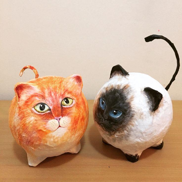 Cats paper mache