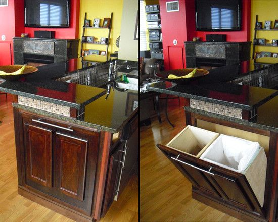 we definitely want a hidden trash can and recycling container - Kitchen Trash Can Ideas