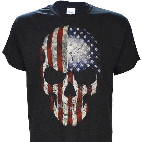 Patriotic Skull on Black Short Sleeve T Shirt