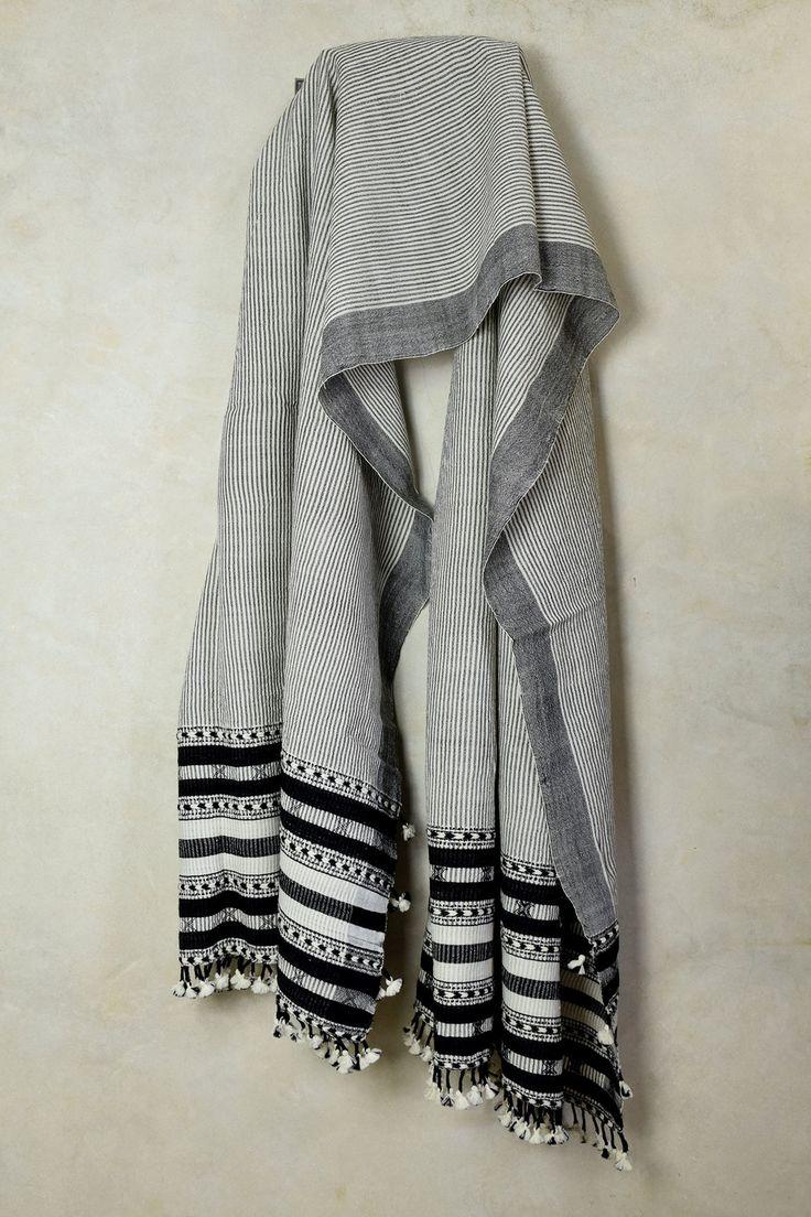Mono Chrome Striped Shawl