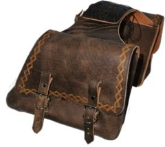 LaRosa Harley Sportster Rustic Brown Leather Throw Over Left & Right Saddle Bags