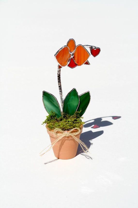 Orange Stained Glass Suncatcher Orchid Decorative Art