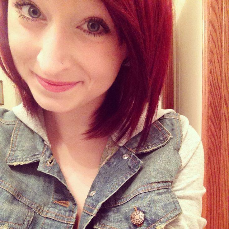My new hair!! #red hair #dyed red hair #bright red hair #Anna Faith #Anastasia Faith #red indie scene hair #red alternative hair #red scene hair #hardcore hair #short scene hair #nose piercing #nostril piercing #nose ring #nose stud #cute red hair