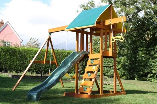 Kids Wooden Cubby House Swing Set Play Gym Climbing Frame