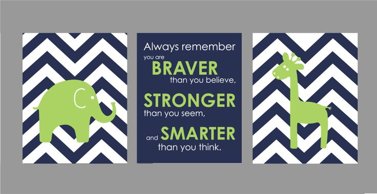 "Navy and Lime Green Nursery Chevron Nursery Set  You are Braver Navy Apple Lime Green Elephant And Giraffe Prints - Set of three 8""x10""s by karimachal on Etsy https://www.etsy.com/listing/180871290/navy-and-lime-green-nursery-chevron"