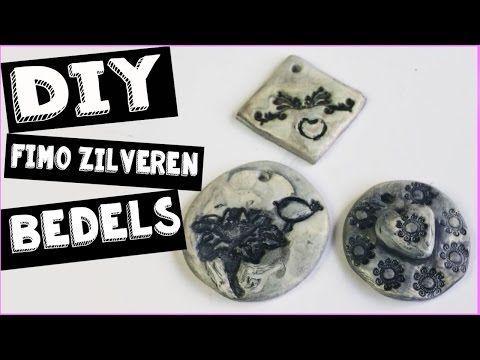FIMO ZILVEREN BEDELS DIY | MIXED MEDIA | Polymeer Clay How to - YouTube diy silver hangers