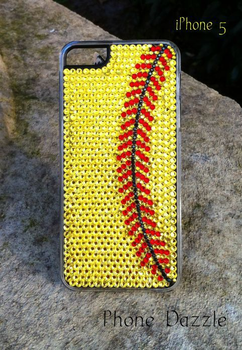 Rhinestone Softball iPhone Case by PhoneDazzle on Etsy, $45.00