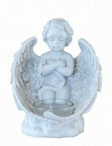 Cherub T-Light Candle Holder Grave Ornament - Cherub With Arms Crossed