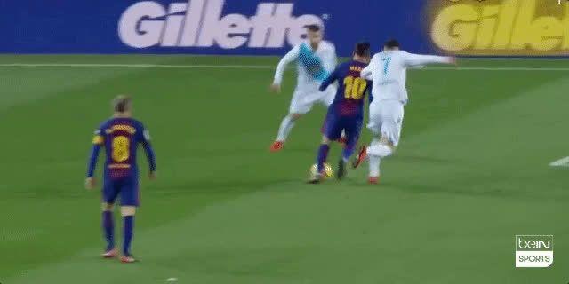 Messi and Alba nutmeg Carles Gil back to back