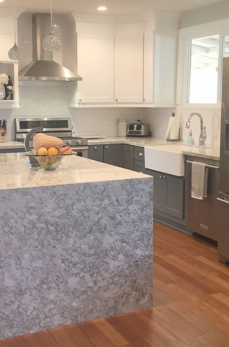 Waterfall countertop, cambria quartz Berwyn, gray kitchen,