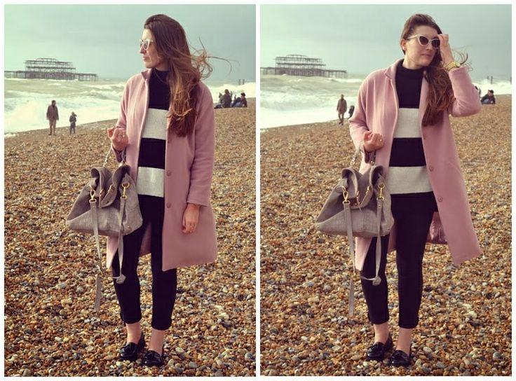 Brighton beach! Debenhams coat, Zara Knit, River Island Bag