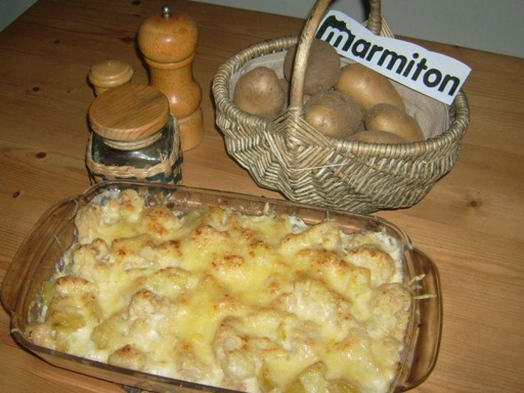 chou-fleur, pomme de terre, beurre, farine, lait, eau, muscade, gruyère, beurre, poivre, Sel