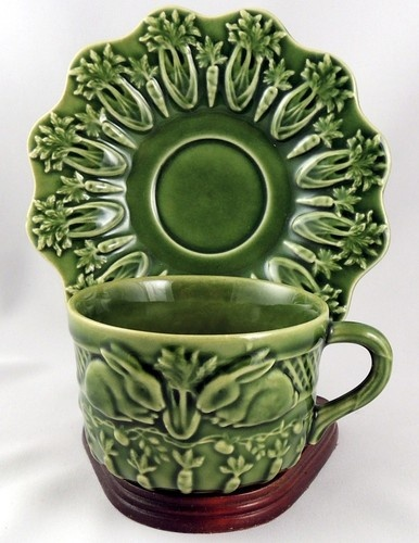 Bordallo Pinheiro Rabbit-Green ~ Cup & Saucer Set:  Need a couple of these for my set.  Love the carrots on the saucers - so whimsical.  Photo originally from eBay.