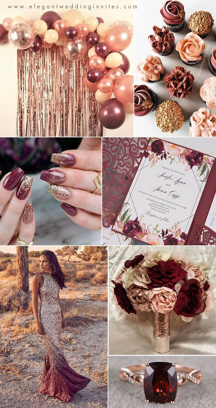 rose gold,blush, burgundy and wine red fall wedding colors
