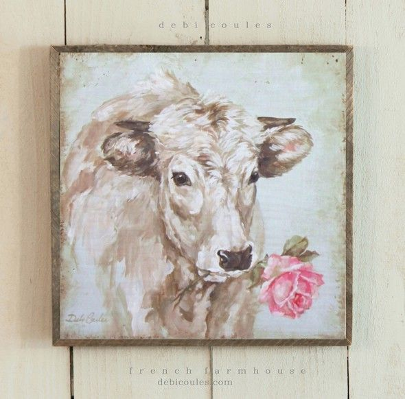 French Farmhouse French Cow with Rose by Debi Coules - Debi Coules Romantic Art