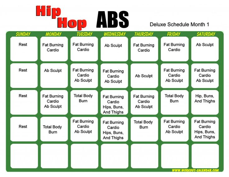 Hip Hop Abs Schedule Deluxe Month 1